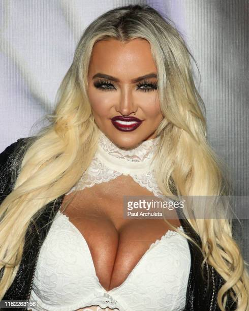 Model Lindsey Pelas attends the Kandy Halloween event The Return Of The Haunted House at a private residence on October 19 2019 in Los Angeles...