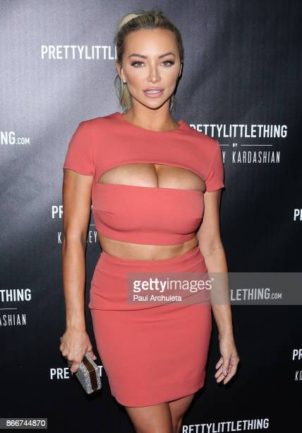 Model Lindsey Pelas attends the PrettyLittleThing by Kourtney Kardashian launch party on October 25 2017 in Los Angeles California