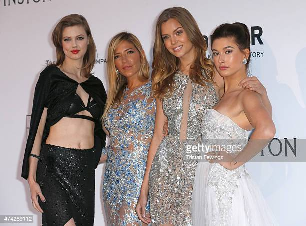 Model Lindsey Wixson designer Gabriela Cadena and models Josephine Skriver and Hailey Baldwin attend amfAR's 22nd Cinema Against AIDS Gala Presented...
