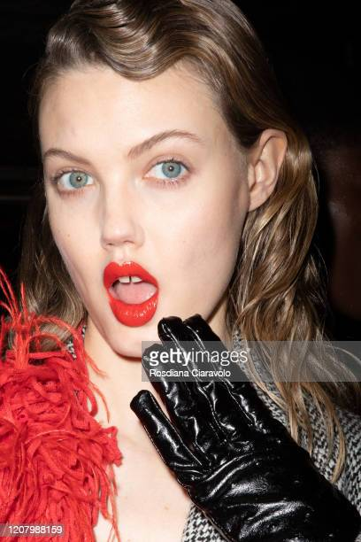 Model Lindsey Wixson is seen backstage at the MSGM fashion show on February 22, 2020 in Milan, Italy.