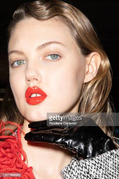 Model Lindsey Wixson is seen backstage at the MSGM fashion show on February 22 2020 in Milan Italy