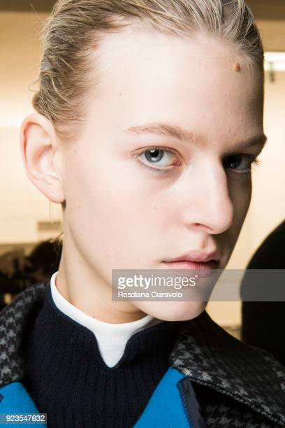 Model Line Kjaergaard is seen backstage ahead of the Sportmax show during Milan Fashion Week Fall/Winter 2018/19 on February 23 2018 in Milan Italy