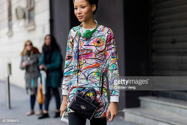 Model Lineisy Montero seen outside Etro during Milan Fashion Week Fall/Winter 2016/17 on February 26 in Milan Italy