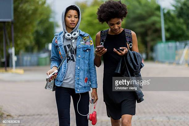 Model Lineisy Montero wearing a hoody and denim jacket outside Mulberry during London Fashion Week Spring/Summer collections 2017 on September 18...