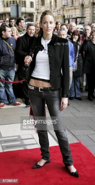Model Lisa Butcher arrives at the opening night of new Musical 'MOVIN' OUT' at Apollo Victoria Theatre on April 10, 2006 in London, England.