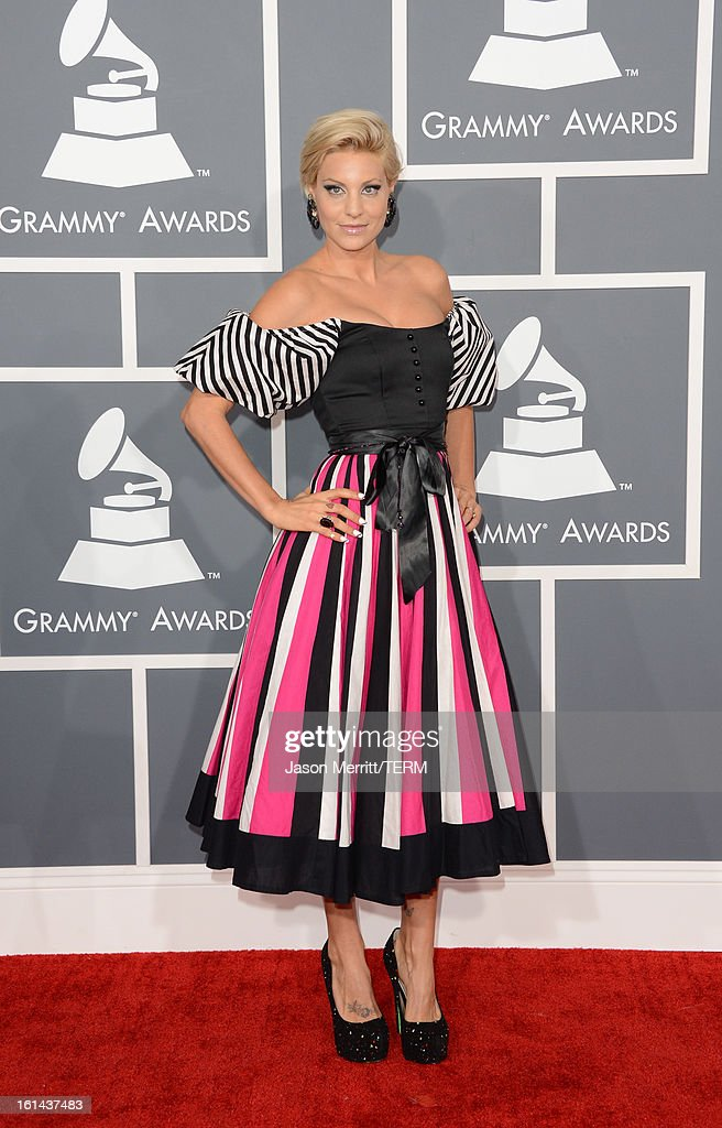 Model Lisa D'Amato arrives at the 55th Annual GRAMMY Awards at Staples Center on February 10, 2013 in Los Angeles, California.