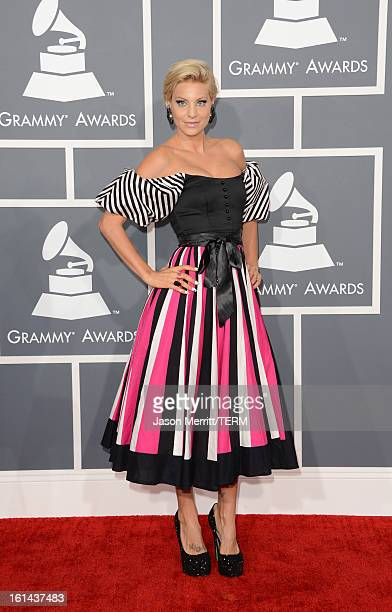 Model Lisa D'Amato arrives at the 55th Annual GRAMMY Awards at Staples Center on February 10 2013 in Los Angeles California