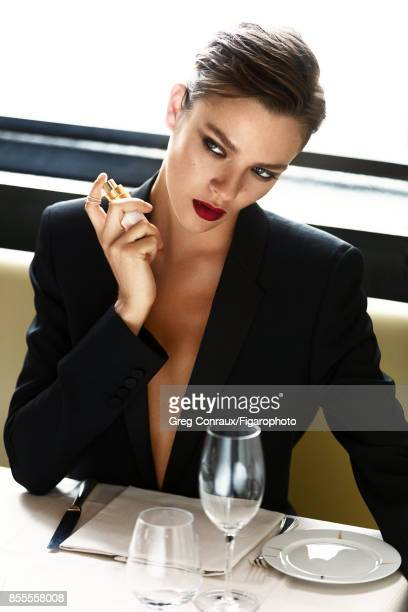 Model Lisa Louis poses at a beauty shoot for Madame Figaro on July 12 2017 in Paris France Makeup by Chanel Jacket Coco Mademoiselle perfume...