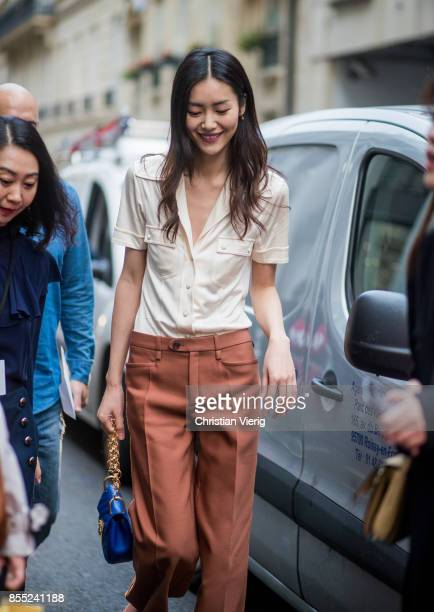Model Liu Wen is seen outside Chloe during Paris Fashion Week Spring/Summer 2018 on September 28 2017 in Paris France