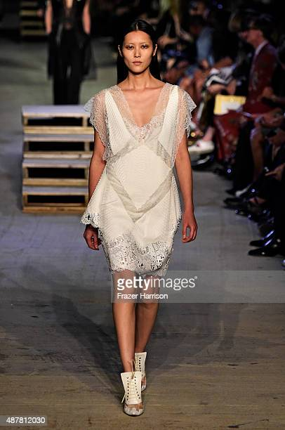 Model Liu Wen walks the runway wearing Givenchy Spring 2016 during New York Fashion Week at Pier 26 at Hudson River Park on September 11 2015 in New...