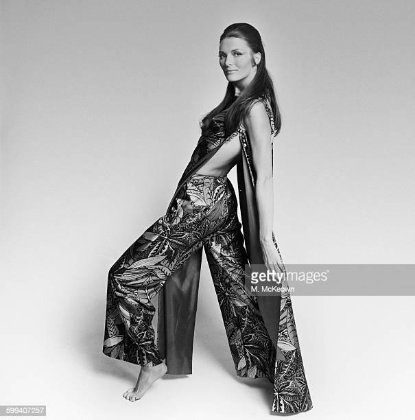 Model Liv Faret wearing fashion pyjamas, UK, 18th August 1967.