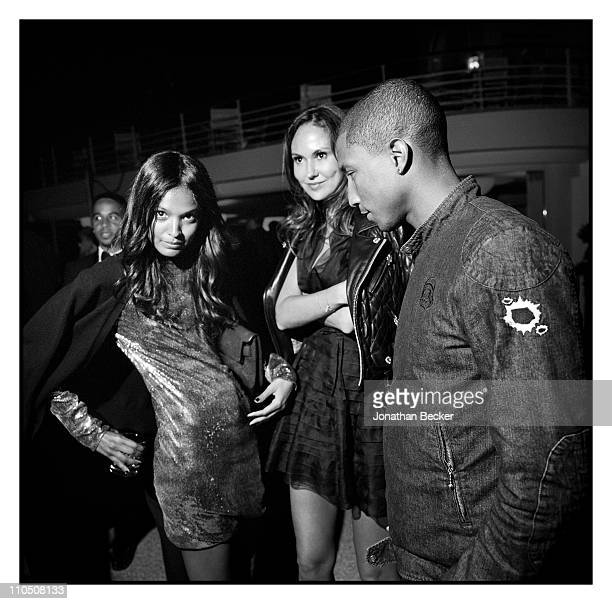 Model Liya Kebede and singer Pharrell Williams are photographed at Vanity Fair Cannes Party at the Eden Roc, Cap d'Antibes for Vanity Fair Magazine...