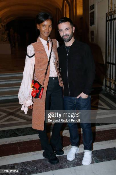 Model Liya Kebede and Stylist Nicolas Ghesquiere pose after the Louis Vuitton show as part of the Paris Fashion Week Womenswear Fall/Winter 2018/2019...