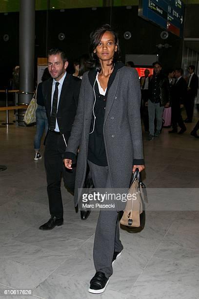Model Liya Kebede arrives at CharlesdeGaulle airport on September 27 2016 in Paris France