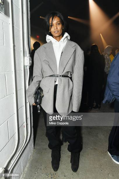 Model Liya Kebede attends the Raf Simons runway show during New York Fashion Week Mens' on February 7 2018 in New York City