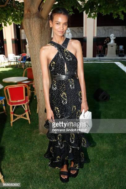 Model Liya Kebede attends the Sonia Rykiel Paris Fashion Week Haute Couture Fall/Winter 20182019 at Les BeauxArts de Paris on July 1 2018 in Paris...