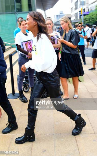 Model Liya Kebede is seen arriving to the Longchamp SS20 Runway Show at Hearst Plaza Lincoln Center during NYC Fashion Week on September 7 2019 in...