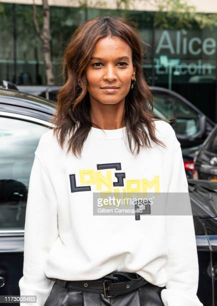 Model Liya Kebede is seen arriving to the Longchamp SS20 Runway Show at Hearst Plaza Lincoln Center during NYC Fashion Week on September 07 2019 in...