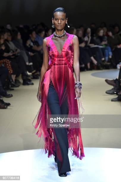 Model Liya Kebede walks the runway during the Alexander McQueen show as part of Paris Fashion Week Womenswear Fall/Winter 2018/2019 on March 5 2018...
