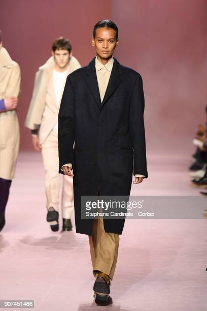 Model Liya Kebede walks the runway during the Berluti Menswear Fall/Winter 20182019 show as part of Paris Fashion Week January 19 2018 in Paris France