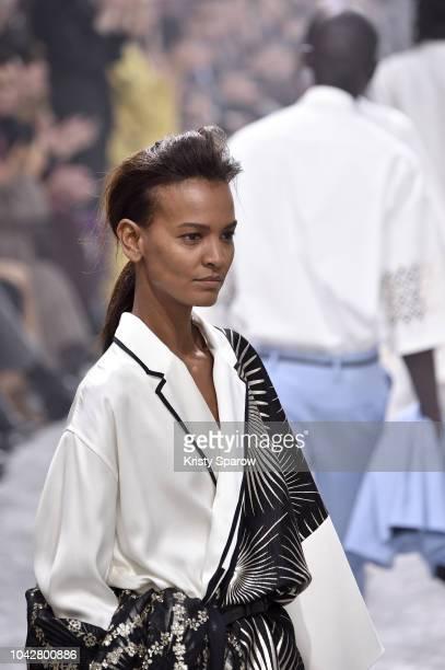 Model Liya Kebede walks the runway during the Haider Ackermann show as part of Paris Fashion Week Womenswear Spring/Summer 2019 on September 29 2018...