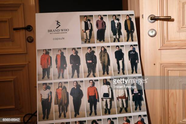 A model look board backstage ahead of the Brand Who show during MercedesBenz Istanbul Fashion Week March 2017 at Grand Pera on March 22 2017 in...