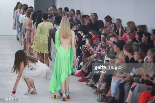 Model looses her shoe during a presentation of a new Spring/Summer 2020 Roberta Einer collection during London Fashion Weak in the British Fashion...