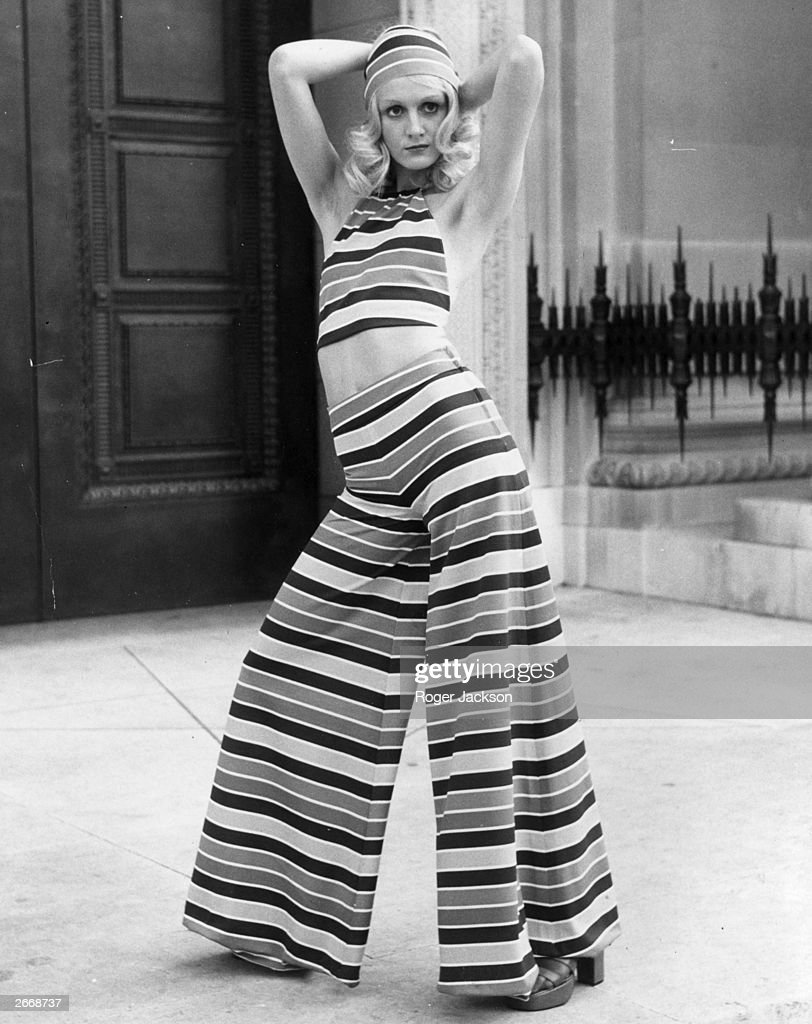 Model Lorain modelling a Lollipop, Deckchair-Striped Halter top and trousers from the Mary Quant Springwear Collection.