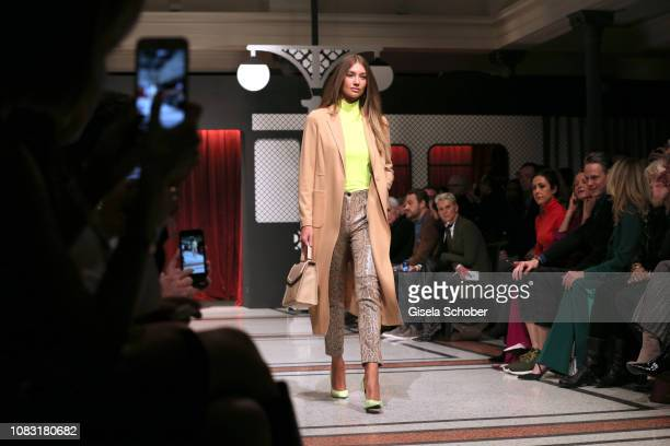 Model Lorena Rae during the Marc Cain Fashion Show Autumn/Winter 2019 at Deutsche Telekom's representative office on January 15 2019 in Berlin Germany