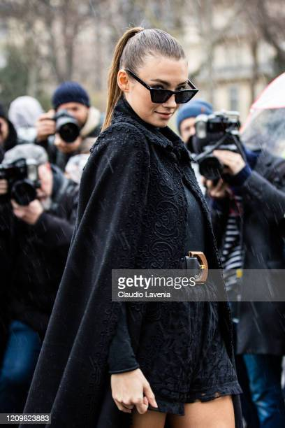 Model Lorena Rae is seen outside Elie Saab fashion show on February 29 2020 in Paris France