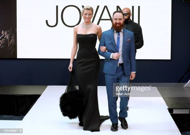 Model Lou Schieffelin walks the runway wearing Bebe's and Liz's presents JOVANI, with Celebrity Jeweler Mike Nekta New York during NYFW Powered By...
