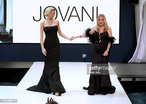 Model Lou Schieffelin walks the runway with Bebe's and Liz's presents JOVANI, Special Showcase by Celebrity Jeweler Mike Nekta New York during NYFW...