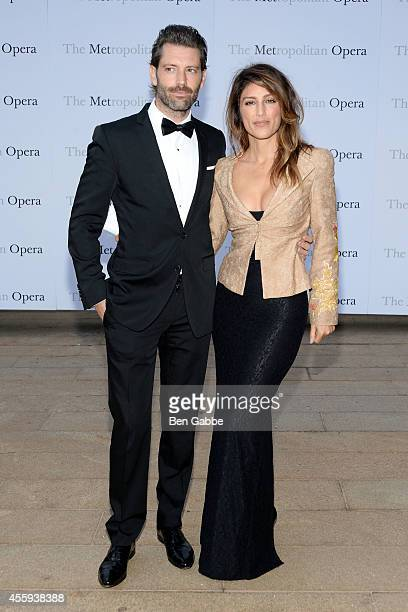 Model Louis Dowler and actress Jennifer Esposito attend the Metropolitan Opera Season Opening at The Metropolitan Opera House on September 22 2014 in...