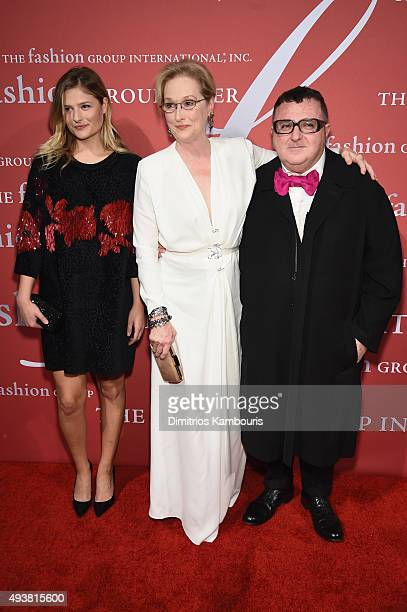Model Louisa Gummer Meryl Streep and Lanvin Designer Alber Elbaz attend The FGI 32nd Annual Night Of Stars at Cipriani Wall Street on October 22 2015...