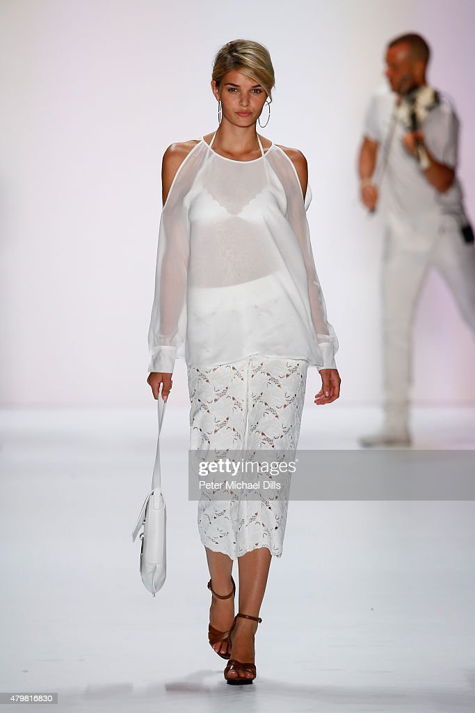 Model Louisa Hartema walks the runway at the Riani show during the Mercedes-Benz Fashion Week Berlin Spring/Summer 2016 at Brandenburg Gate on July 7, 2015 in Berlin, Germany.