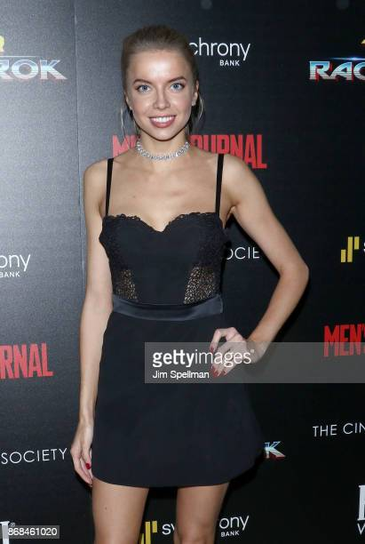 Model Louisa Warwick attends the screening of Marvel Studios' 'Thor Ragnarok' hosted by The Cinema Society with FIJI Water Men's Journal and...