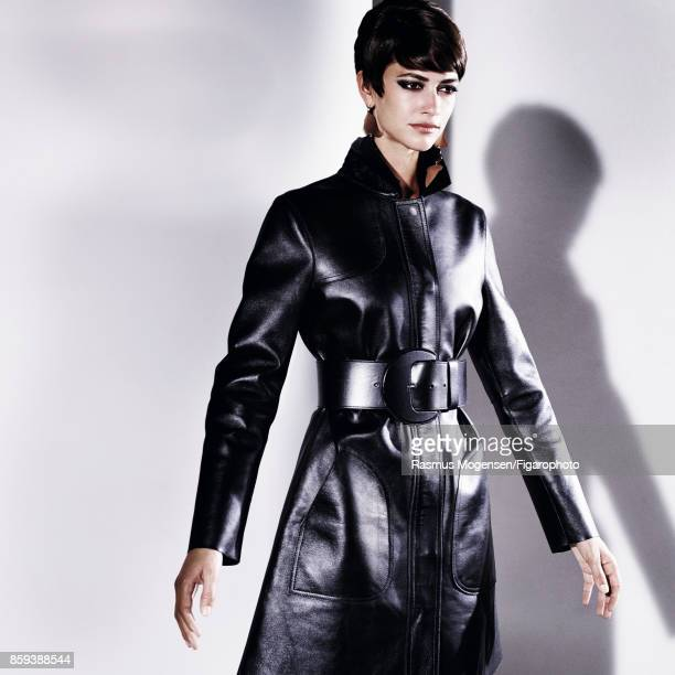 Model Louise de Chevigny poses at a fashion shoot for Madame Figaro on September 6 2017 in Paris France Coat earrings belt PUBLISHED IMAGE CREDIT...