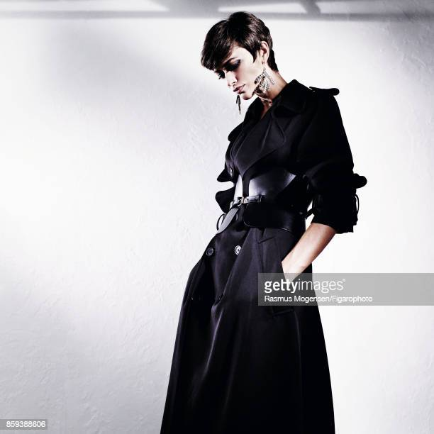 Model Louise de Chevigny poses at a fashion shoot for Madame Figaro on September 6 2017 in Paris France Trench and belt earrings PUBLISHED IMAGE...