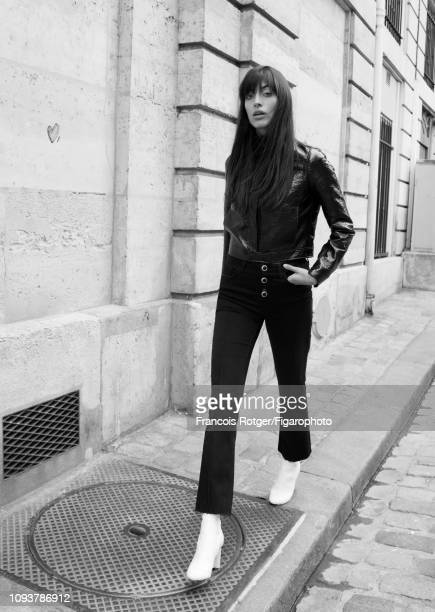 Model Louise Follain poses for a fashion shoot for Madame Figaro on September 21 2018 in Paris France Jacket and poloneck jeans boots PUBLISHED IMAGE...