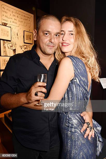 Model Louise Lacoste and Joann Sfar attend the Joann SfarDali Une seconde Avant L'Eveil Exhibition Preview at Musee Salvador Dali on September 8 2016...