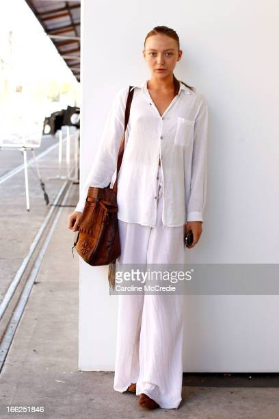 Model Louise Van de Vorst is seen at MercedesBenz Fashion Week Australia Spring/Summer 2013/14 at Carriageworks on April 11 2013 in Sydney Australia
