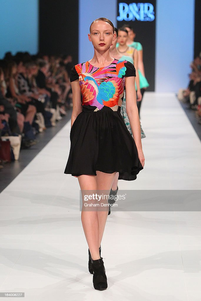 Model Louise Van der Vorst showcases designs by Alice McCall during the L'Oreal Melbourne Fashion Festival Opening Event presented by David Jones at Docklands on March 19, 2013 in Melbourne, Australia.