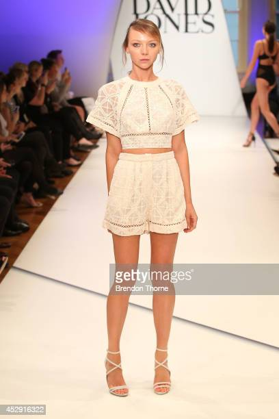 Model Louise Van Der Vorst showcases designs by Zimmermann Swim during a rehearsal ahead of the David Jones Spring/Summer 2014 Collection Launch at...