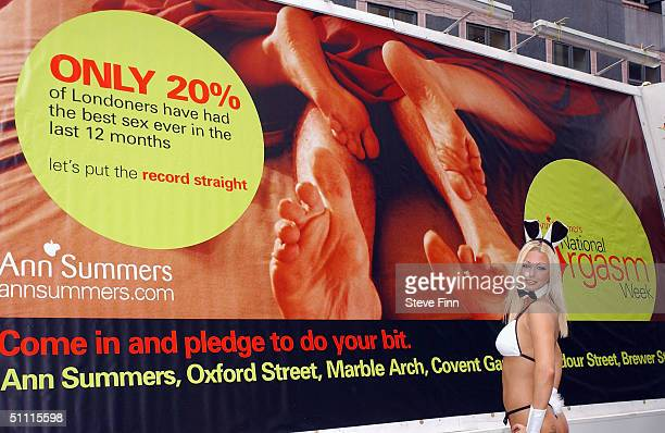 Model Luci Victoria poses to promote the second annual National Orgasm Week on July 26 2004 at Ann Summers in Oxford Street London