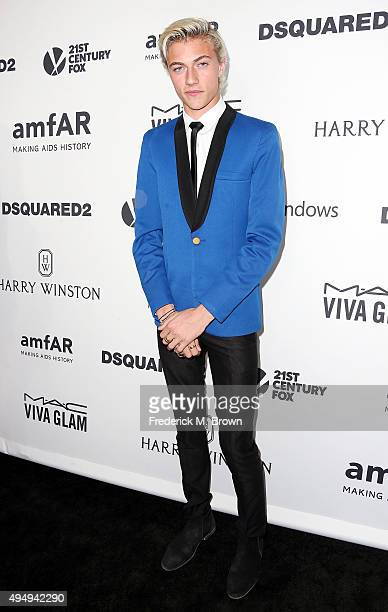 Model Lucky Blue attends amfAR's Inspiration Gala Los Angeles at Milk Studios on October 29 2015 in Hollywood California