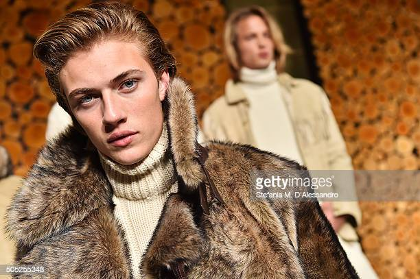 Model Lucky Blue Smith poses at Ralph Lauren Purple Label Presentation as part of Milan Men's Fashion Week FW16 on January 16, 2016 in Milan, Italy.