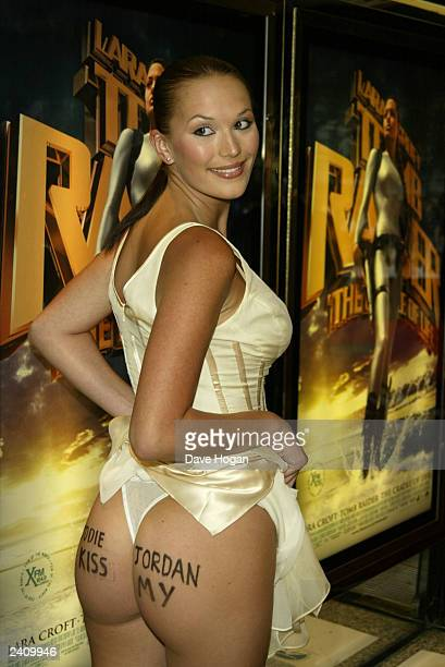 Model Lucy Clarkson shows her bottom at the premiere of Lara Croft Tomb Raider The Cradle of Life at the Empire Leicester Square on August 19 2003 in...