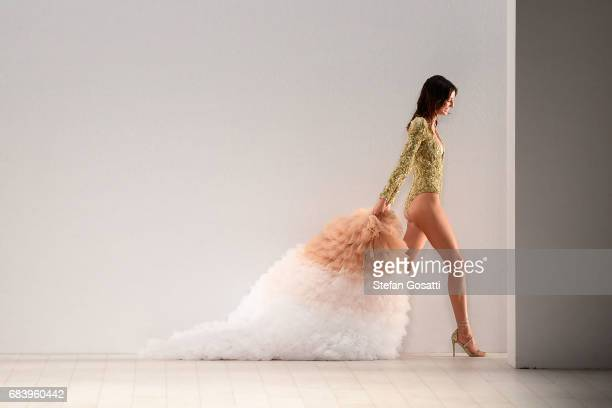 Model Lucy Markovic walks the runway in a design by Aqua Blu during the Swim show at MercedesBenz Fashion Week Resort 18 Collections at Carriageworks...