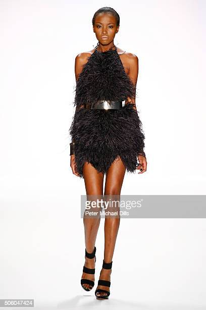 Model Lucy Nelson Lee walks the runway at the Dimitri show during the MercedesBenz Fashion Week Berlin Autumn/Winter 2016 at Brandenburg Gate on...