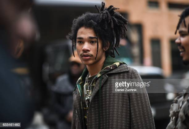 Model Luka Sabbat is seen outside of the Rochambeau show during New York Fashion Week Men's AW17 on February 1 2017 in New York City